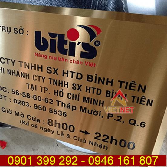 Bảng hiệu công ty inox ăn mòn thương hiệu Bitis