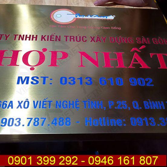 Bảng inox in UV tên công ty KTXD Sài Gòn Hợp Nhất