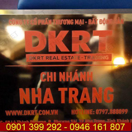Bảng inox in UV tên công ty Bất Động Sản DKRT CN Nha Trang