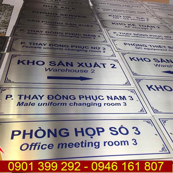 Bảng inox in UV tên phòng ban kho xưởng xí nghiệp