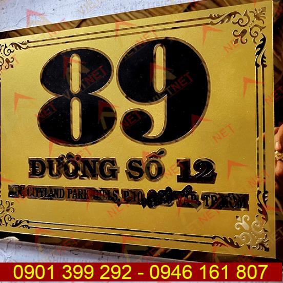 Bảng số nhà inox ăn mòn inox vàng 89 Gò Vấp Tp.HCM