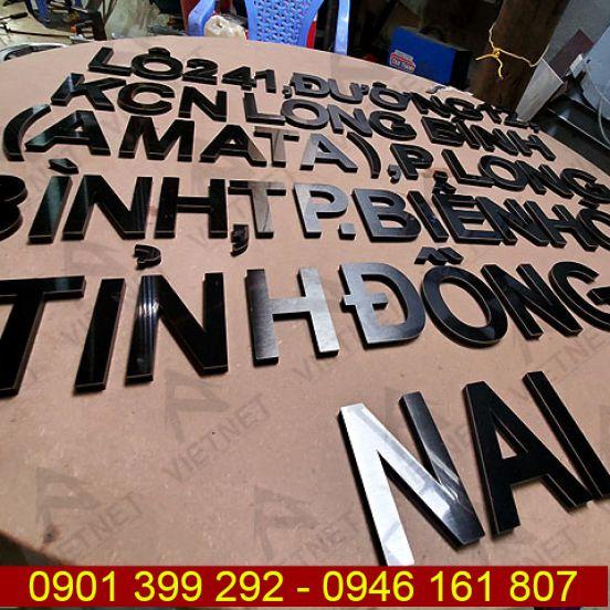 Chữ inox đen xước bảng hiệu Công Ty Tirol Choco Việt Nam
