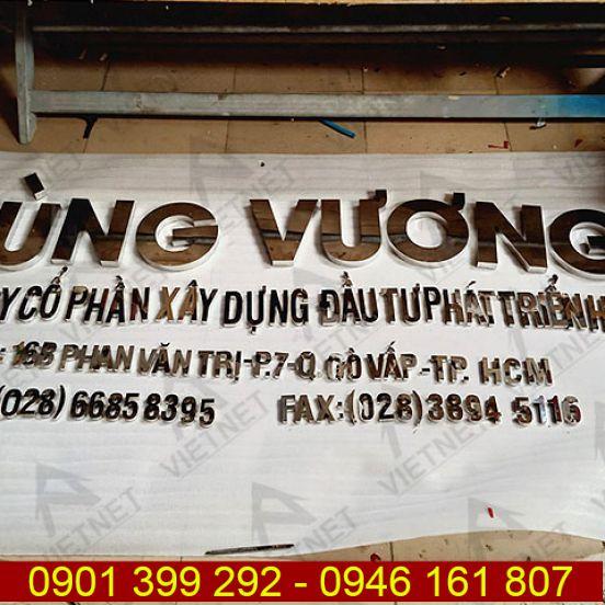 Chữ inox trắng gương Công ty Cổ Phần Xây Dựng Hùng Vương