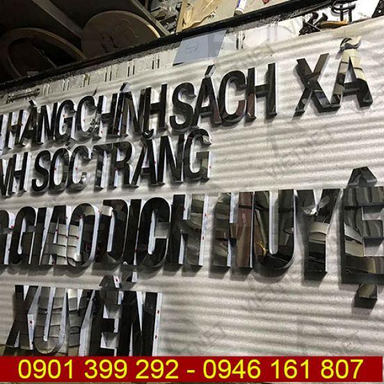 Chữ inox trắng gương Ngân hàng chính sách xã hội Sóc Trăng