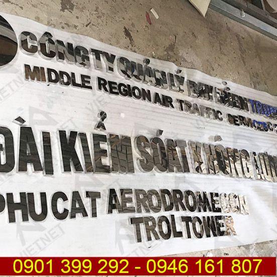 Chữ inox trắng gương Đài Kiểm Soát Không Lưu tỉnh Bình Định
