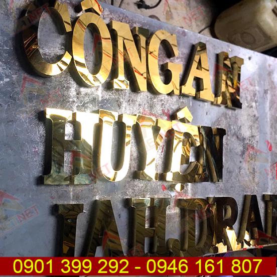 Chữ inox vàng gương Công an huyện IA HDrai