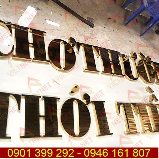 Chữ inox vàng gương Chợ Thường Thới Tiền