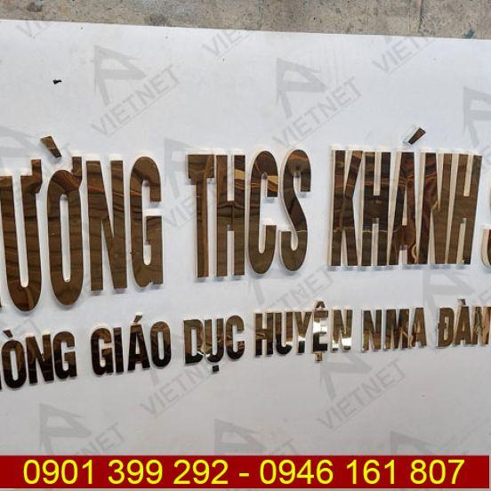 Gia công chữ inox vàng gương Trường THCS Khánh Sơn