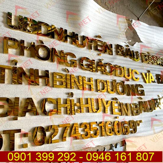 Chữ inox vàng gương UBND huyện Bàu Bàng tỉnh Bình Dương