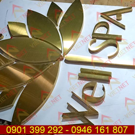 Chữ inox vàng xước và logo tiệm Spa Well