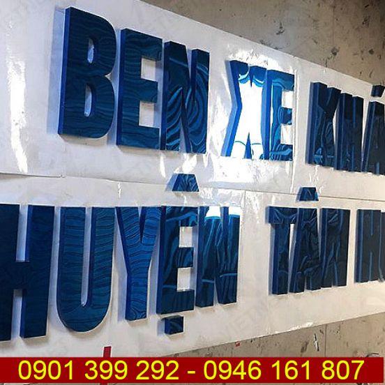 Chữ inox xanh gương Bến Xe Khách huyện Tân Hưng