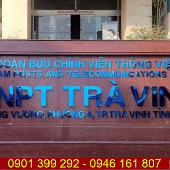 Chữ inox xanh gương Tập Đoàn Bưu Chính VNPT Trà Vinh