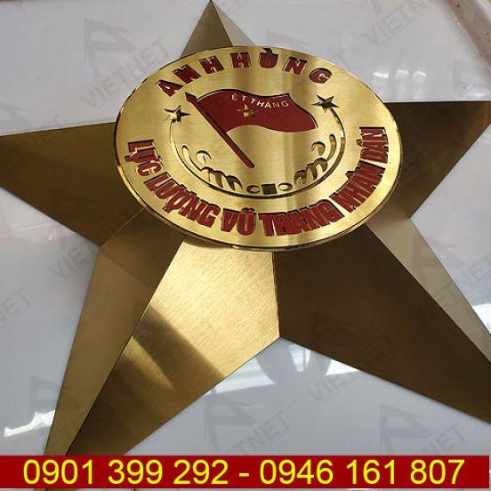 Logo inox ăn mòn Ngôi sao 3 Vạch Anh Hùng LLVT Nhân Dân