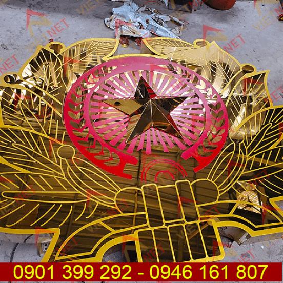 Logo inox ăn mòn Quốc Huy Quận Đội Nhân Dân VN