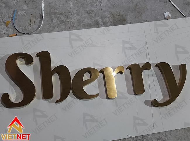 chữ inox vàng xước sherry 2